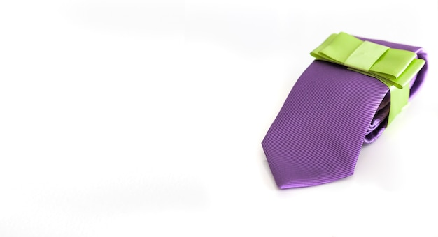 Stylish tie with ribbon, perfect gift for men. father day  greeting card with copy space. men accessories and fashion.