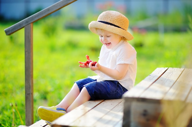 Stylish toddler boy sitting on wooden stairs and looking on his harvest on raspberry farm