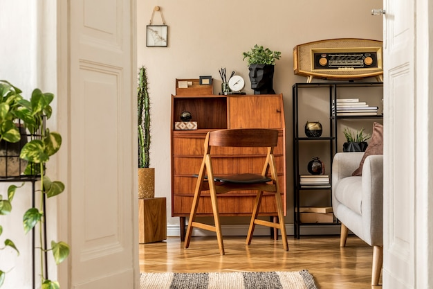 Stylish and vintage interior design of open space with wooden retro cabinet, design chair, sofa, shelf, radio, cacti, plants.