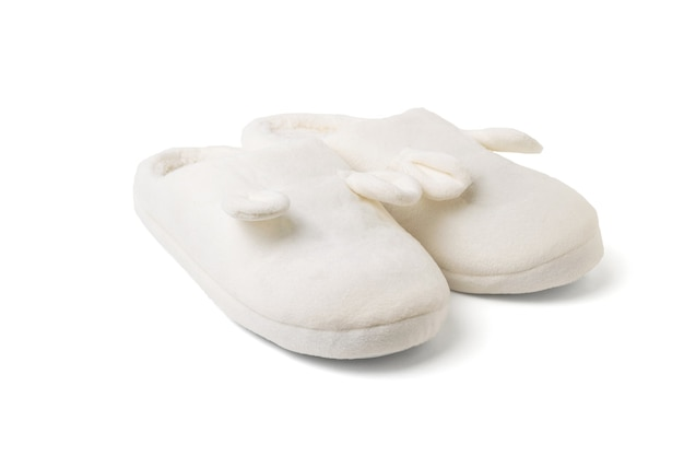 Stylish white home slippers isolated on a white surface