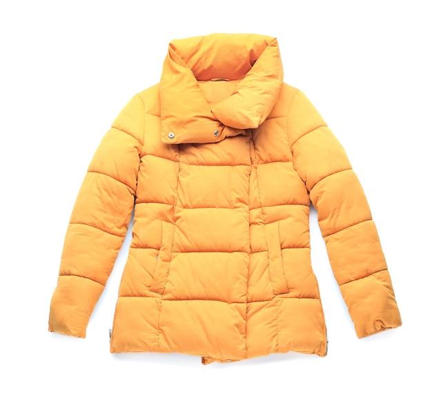 Stylish winter coat on white background