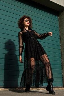 Stylish woman low angle shot