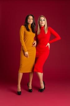 黄色と赤の秋冬ファッションニットドレスのスタイリッシュな女性が赤い壁に分離されたポーズ