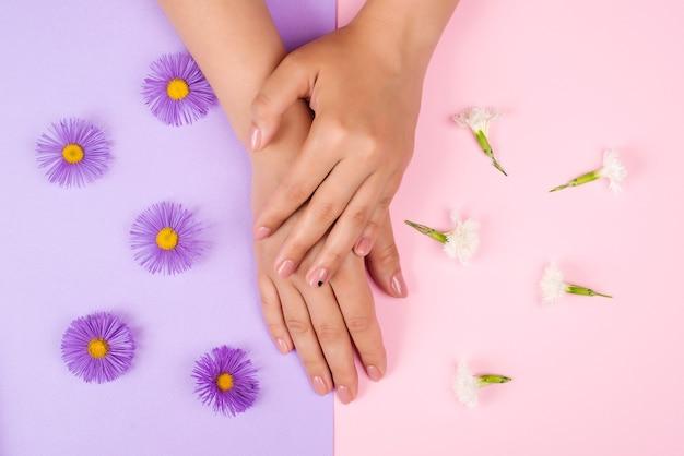 세련된 여성 매니큐어. 손과 손톱 관리. 뷰티 여자 손톱.