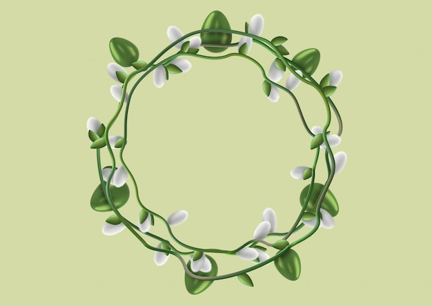 텍스트 또는 축 하를 작성하기위한 템플릿으로 장식 된 부활절 달걀과 버드 나무 꽃 (catkin)의 세련된 화환