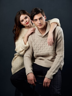 Stylish young couple man and woman, sexual relations, couple of models,.