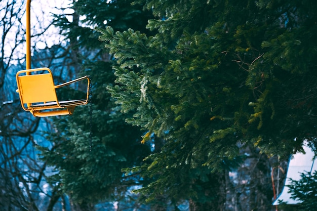 Стилистическое фото старого винтажного желтого пустого кресла для лыжного подъемника, изолированного слева, ветки сосны bahinf в зимнем лесу, фокус на сиденье