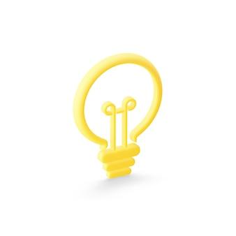 様式化された平らな黄色の電球のアイコン。 3dレンダリング。