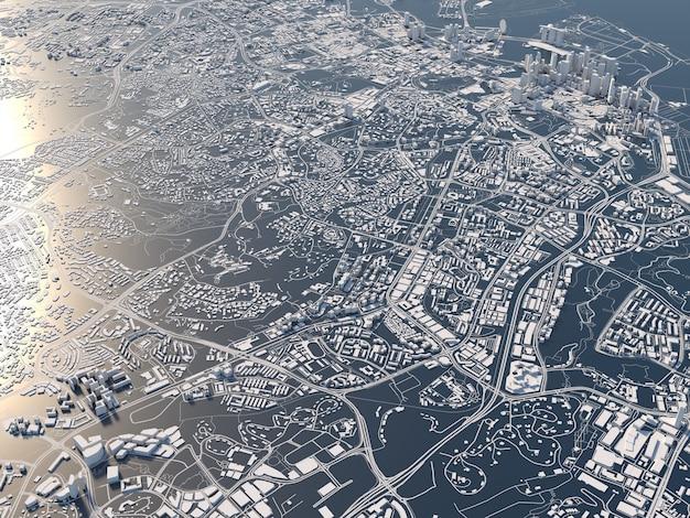 싱가포르 3d 렌더링의 양식 된 그래픽 도시