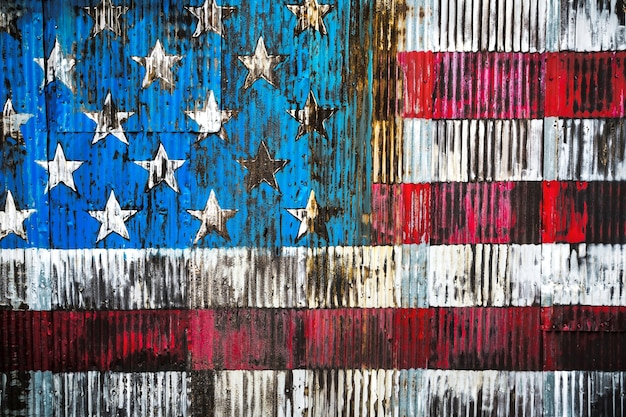 Stylized image of the american flag on a rusty fence