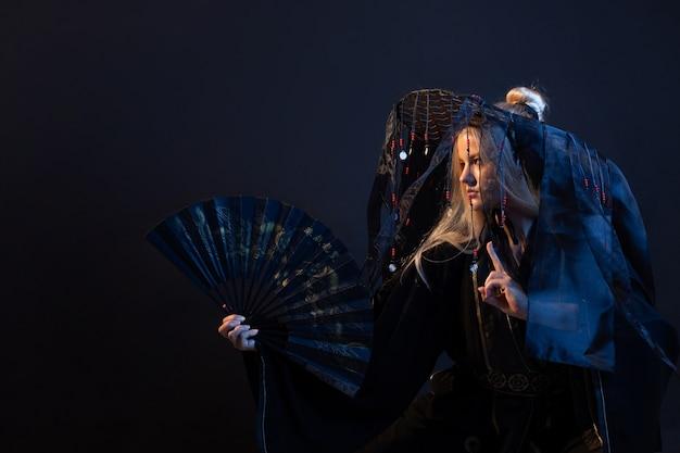 Stylized samurai in a fantasy style a young woman in a silk haori