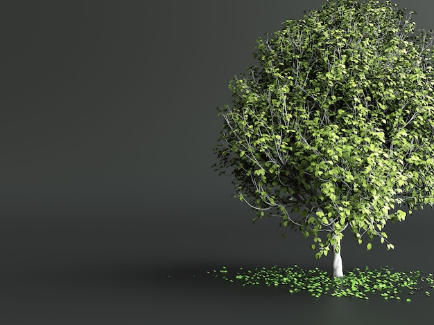 Stylized tree with green leaves on dark grey background. 3d illustration