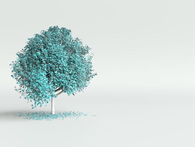 흰색 바탕에 밝은 파란색 잎 양식에 일치시키는 나무. 3d 그림