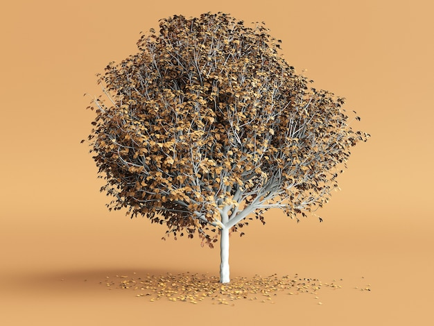 오렌지 색상 바탕에 노란색 잎 양식에 일치시키는 나무. 3d 그림