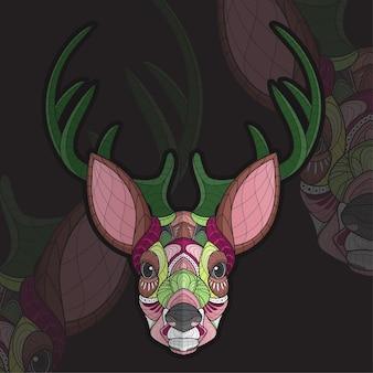 様式化されたzentangle動物の着色鹿のイラスト