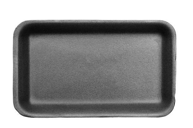 Styrofoam food tray isolated on white background.
