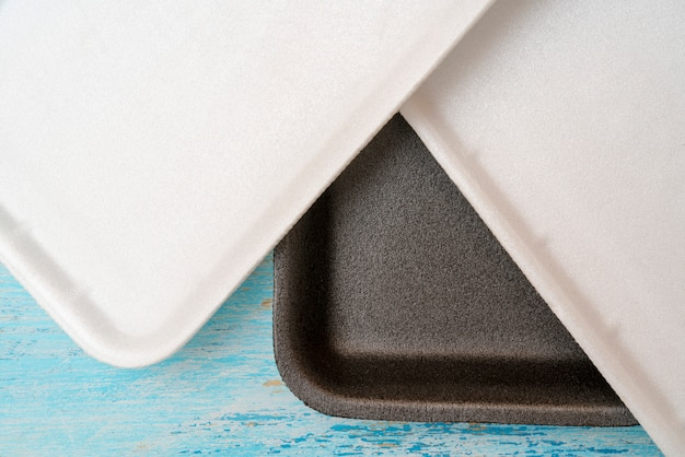 Styrofoam food tray for packaging and trade.