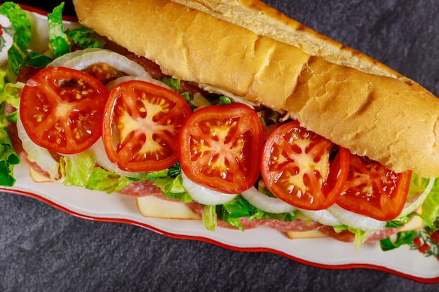 Sub sandwich with salami, cheese and vegetable