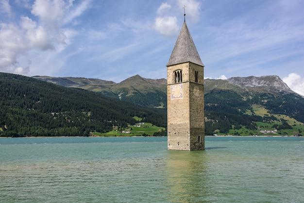 Submerged bell tower in reschensee