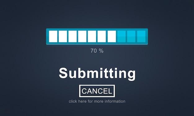 オンラインインターネット読み込みの進捗状況のwebサイトの概念を送信する