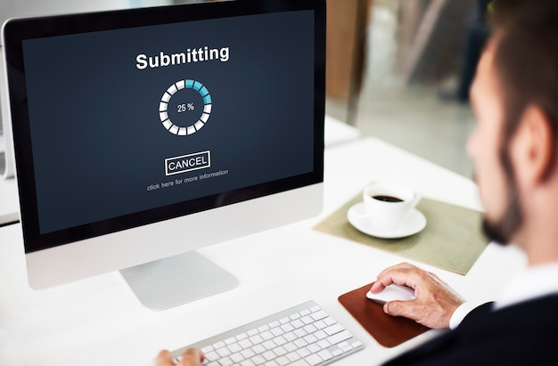 Отправка концепции веб-сайта прогресса загрузки интернета