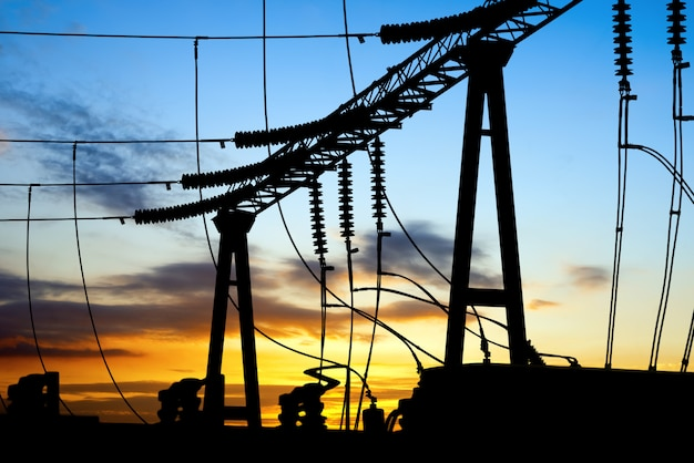 Substation transmission equipment silhouette