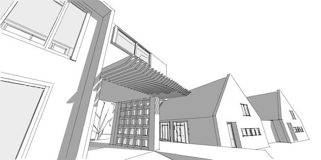 교외 주거 지역, 좋은 동네 집, 부동산 개념, 3d 그림.