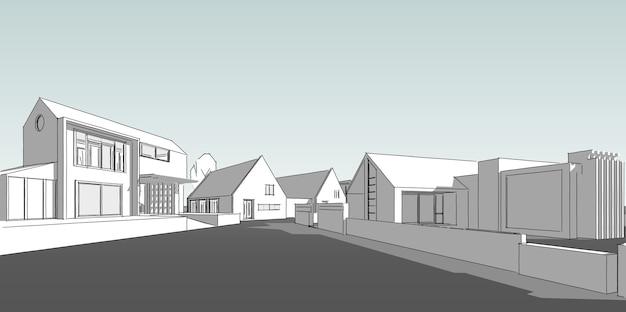郊外の住宅街、素敵な近所の家、不動産のコンセプト、3dイラスト。