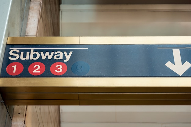Subway sign closeup front view