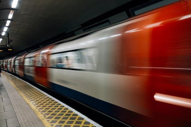 Subway train in rapid motion