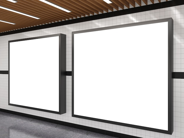 Subway with blank white advertising billboard frame