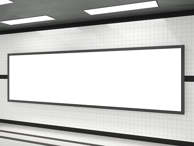 Subway with blank white advertising large billboard frame