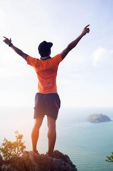 Success achievement climbing, running or hiking accomplish business concept