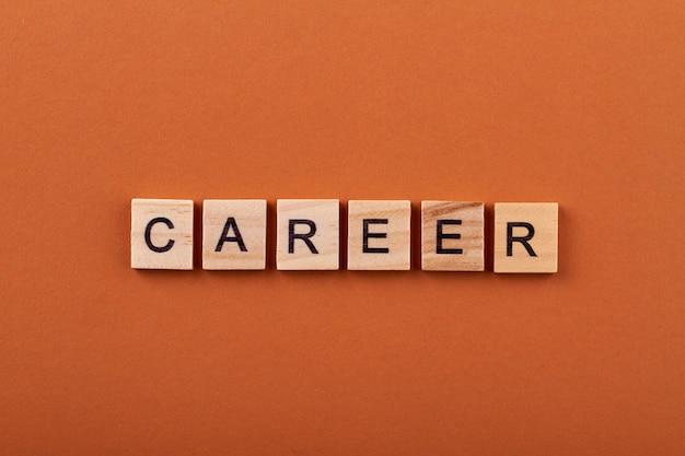 성공 경력 개념. 사업과 직업에서의 성취. 오렌지 배경에 고립 된 나무 조각에 편지입니다.