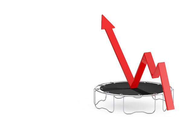 Success concept. business growth red arrow get boost with jumps on trampoline on a white background. 3d rendering