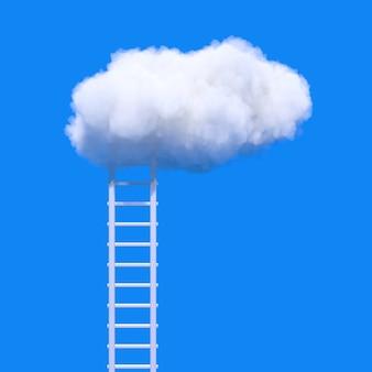 成功の概念。青い空を背景にふわふわの雲につながる脚立。 3dレンダリング