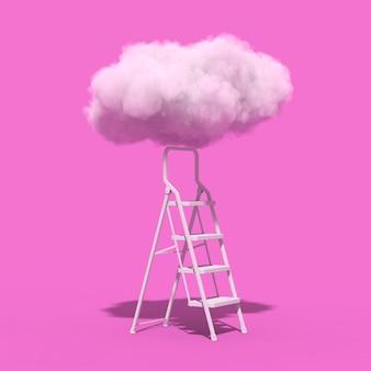 成功の概念。ピンクの背景にふわふわの雲につながる脚立。 3dレンダリング