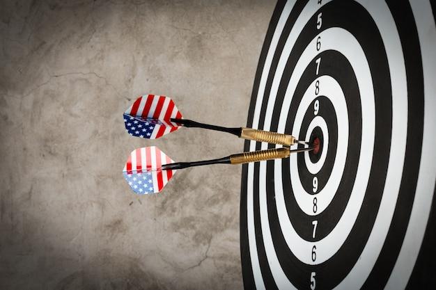Success hitting target, aim goal achievement concept