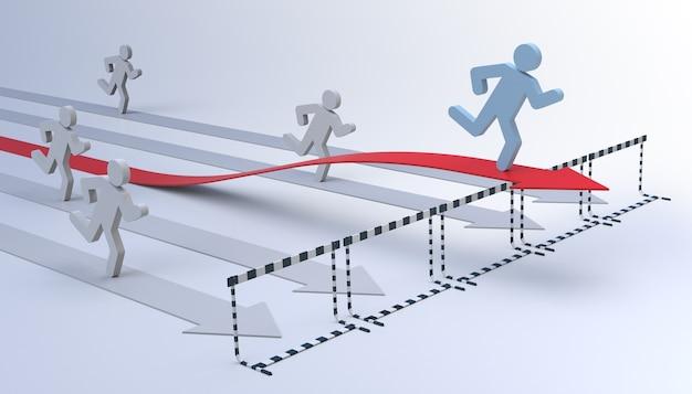 法的な動きを伴うビジネスでの成功-矢印と障害物のある概念的な3d画像