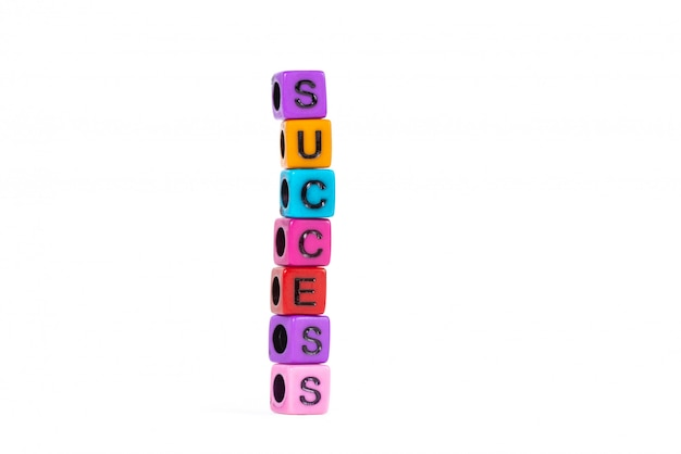 Success text made from colorful beads or letter bead