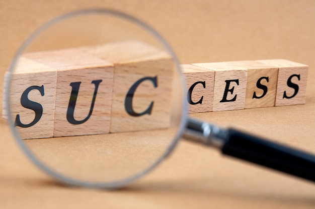 돋보기와 성공 단어 큐브