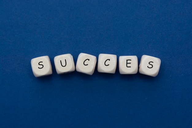 Success word lettering, wooden cubes isolated on blue, classic blue.