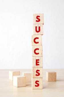 Success word on wooden cubes, business concept