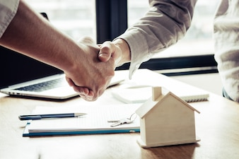 Successful agreement, estate, home buying contract concept