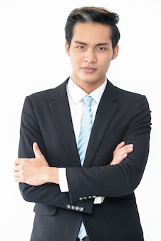 Successful ambitious asian businessman in suit