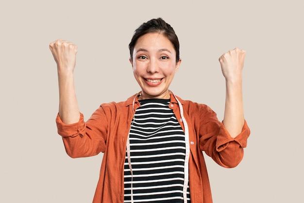 Successful asian fashion designer portrait
