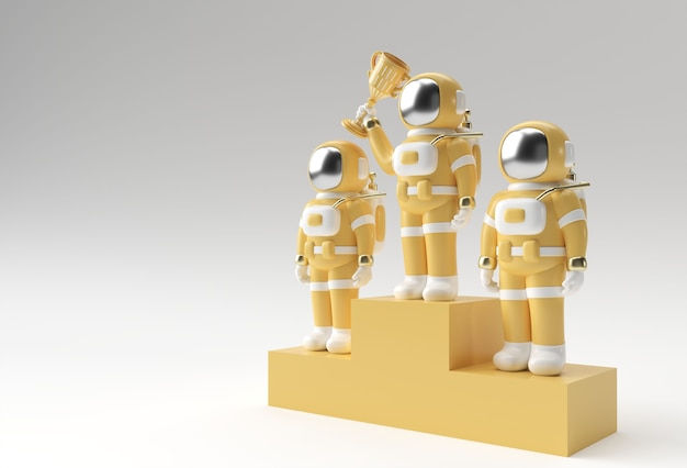 Successful astronaut got the first prize trophy 3d rendering.