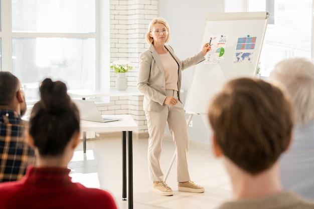 ホワイトボードによってスマートカジュアルに立って、学生にデータを説明しながら金融紙を指して成功した金髪の先生