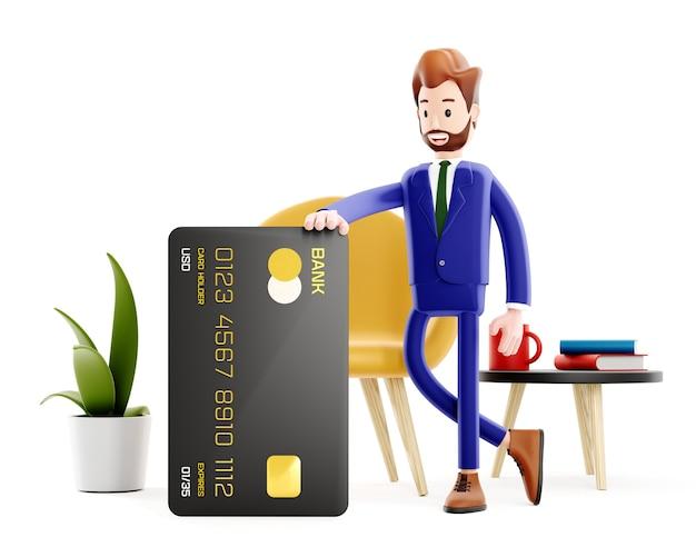 Успешный деловой человек с банковской картой. управляющий банком или начальник офиса, покупки в интернете