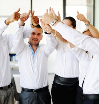 Successful business people in real office situations